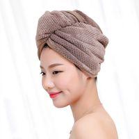 Mikrofaserhaartuch Handtücher Duschkappe mit Knopfdesign Weiche Mädchen Bad Hüte Wrap Caps Frauen Schnelltuch Superabsorbierende Turban