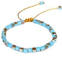 Tennis 2pcs set Simple Boho Styles Fashion Square Glass Crystal Shine Charm Beads Bracelets For Women Bohemian Bead Jewelry Boho061