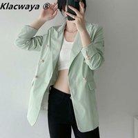 Frauenanzüge Blazer Klacwaya Frauen 2021 Mode Büro Tragen Zweireiher Blazer Mantel Vintage Langarm Taschen Weibliche Casual Anzug J