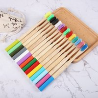 12 Colors Natural Wood Toothbrush Soft Bristles Eco Bamboo Fibre Wooden Handle For Adults