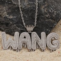 A- Z Custom Name Letters Necklaces Mens Fashion Hip Hop Jewelry Iced out Gold Silver Crown Initial Letter Pendant Necklace Fashion Design