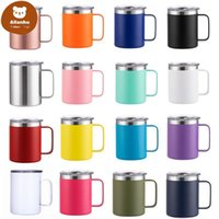 12oz Coffee Mug With Handle Insulated Stainless Steel Reusable Double Wall Vacuum Beer Travel Cup Tumbler Powder Coated Forest Sliding Lids xw