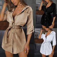 Мода повседневная одежда женская тонкие сексуальные рубашки платье лето женщина сплошной цвет ол ремень осложнения шеи платья женщины тонкие ремень рубашки