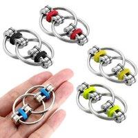 100 pcs / dhl fidget bicicleta anel de bicicleta flip finger spinner keychain adhd sensory autismo autismo stress anel chave de metal brinquedo divertido 2021 h39xe77