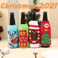 DHL Nieuwste kerst gebreide wijnfles deksel partij gunst xmas bier wijnen zakken santa snowman eland bieren flessen covers groothandel CY29