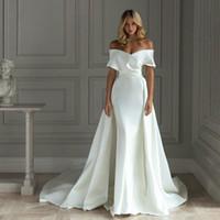 Cheap простое новое поступление сатин русалка свадебные платья с съемным поездом с плечами свадебное платье свадебное платье Vestido de Noiva