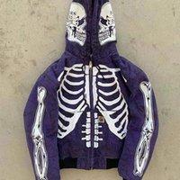 Homens Streetwear High Street Crânio Esqueleto Esqueleto Capuz Hoodie Casacos Oversized Casual Moletom Moda Vintage Casacos Outono S-4XL