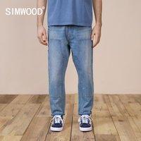 Simwood 2021 Bahar Yeni Gevşek Düz Boya Sıçramak Kot Erkekler Artı Boyutu Hip Hop Streetwear 100% Pamuk Giyim SK120212