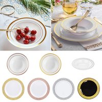 Disposable Dinnerware Plastic Bowls Tableware Deep Dish Plate Dinner Plates For Picnic Birthday Party Wedding Banquet PS Soup Sauce Bowl