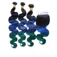 Malaisien Vierge Human Hair Featus Body Roe Root foncé Cheveux verts avec fermeture en dentelle Trois Ton 1B Vert Blue Ombre Bundles de cheveux