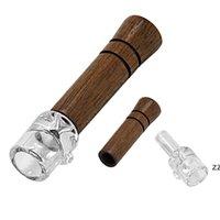 68mm kreatywne drewniane szklane rury tytoniowe z wyjmowaną dyszą orzechową przenośnymi prostymi rurami do palenia HWB10298