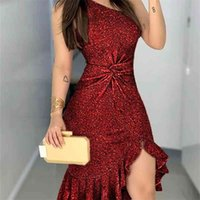 Glitter One Shoulder Twisted Ruffled Dress Slit Bodycon Chic Shining Sparkly Cocktail Party 210402
