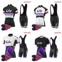 LIV Equipo para mujer Ciclismo Mangas cortas Jersey 9D Pad Babero Pantalones cortos Sets Ropa de bicicleta Ropa Ciclismo S081103