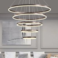 Modern Ring Led Ceiling Chandeliers Pendant Lamps for Living Dining Room Loft Hanging Lamp Home Decore Accessories Indoor Lighting Fixtures