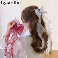 Accesorios para el cabello Lystrfac Style Lace Bow Cinta Larga Cinta Horquilla Para Mujeres Salvaje Linda Chica Peluquerías Fashion Braid Hairgrips