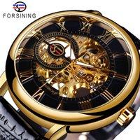 디자이너 시계 브랜드 시계 럭셔리 시계 Raving 블랙 골드 케이스 가죽 해골 기계 남성 헤렌 호르 로지