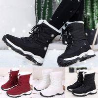 إمرأة ماء منصة الشتاء الأحذية الدافئة أفخم نعل الثلوج الدانتيل يصل أحذية الكاحل الدانتيل يصل أحذية سميكة أسفل بوتاس موهير كاوبوي الأحذية H1AQ #