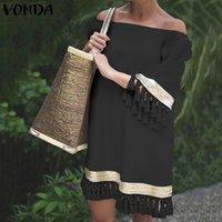 Casual Dresses Women Dress VONDA Autumn Flare Sleeve Bohemian Party Loose Tassel Lace Sundress Vestidos Oversized Solid Robe