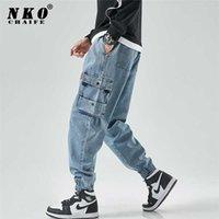 Chaifenko Hip Hop Hop Cargo Jeans Pantalones Hombres Moda Casual Harem Joggers Planchas Streetwear Denim Plus Tamaño M-8XL 211012