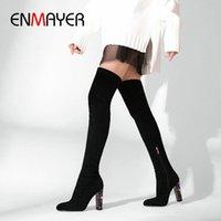 Enmayer 2019 über dem Knie Winterstiefel Frauen Slip auf Faux Wildleder Slim Stiefel Runde Zehe Grundlegende Quadratische Ferse Frauen Schuhe 34 41 Sexy Schuhe B I4YH #