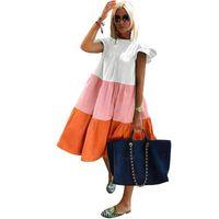 Casual Dresses Elegant Patchwork Hit Color Dress Women O Neck Half Sleeve Oversize Midi Female Summer Clothes