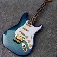 Chitarra elettrica ST di alta qualità, top in acero trapuntato e tastiera di palissandro, sintonizzatori di bloccaggio, chitarra hardware dorata Guitars Guitarra