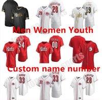 Personalizzato 2021 Cincinnati Aristides Aquino Uomo Donne Giovane Reds Baseball Jersey Stagione Joey Votto Rackel Iglesias Jesse Winker Eugenio Johnny Scott