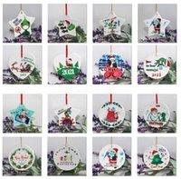Grinch Quarantine Christmas Ornament Xmas Hanging Pendant Sublimation Blanks Personalize for Tree Decor Wearing Mask Designer 2021 DHL Ship FY4832 CS13