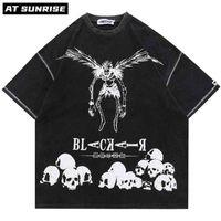 Hip Hop Streetwear Harajuku Camiseta Japonesa Morte Manga Nota Imprimir Tshirt Homens Verão Verão Manga Curta T-shirt Algodão Solto Tops Tee 210809