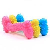 Los juguetes exprimidos resistentes a la mordedura del hueso perro cachorro molares de goma juego de bola para los dientes entrenamiento de plástico térmico mascota chirriante