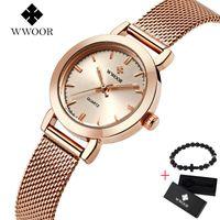 Armbanduhren Wwoor Frauen Uhren Damenquarz Uhr Edelstahl Mesh Band Casual Free Armband Geschenkbox Armbanduhr Reloj