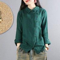 FJE New Spring Plus Tamaño Camisas sueltas Casual Camisa de manga larga Slope Botón Diseño Sólido Algodón Mujer Vintage Blusas D1 210225