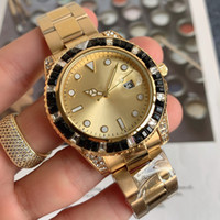 5-2021 41mm Diamante Bezel Homens Assista Automático Data Quartz Movimento Green Watch Gold Solid Sonl Band Banda Master Design Watches Orologio di Lusso