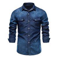 Men's Casual Shirts Designer Men Long Sleeve Gradient Denim Shirt Mens Dress Male Jean High Quality Soft 100% Cotton 2021