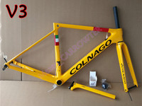 Lightweight T1100 UD Glossy Amarelo Colnago v3rs Disco Carbono Quadro de Estrada Disco Frameset de bicicleta com XS-S-M-L para seleção