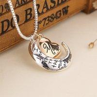 Neue Herzschmuck Ich liebe dich zum Mond und zurück Mama Anhänger Halskette Mutter Tag Geschenk Modeschmuck W-00734