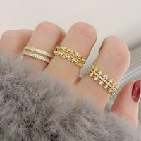 Cluster Rings 2021 Arrive Exquisite 14K Real Gold Plated Double Layers Ring For Women Cubic Bling Zircon CZ Luxurious Bijoux Anillos