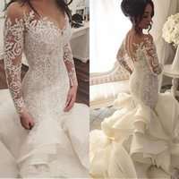 2019 Plus Size Organza Mermaid Wedding Dresses New Arrival Lace Long Sleeve Muslim Vestido De Noiva Romantic Appliques Ruffles We