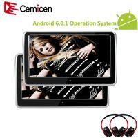 CEMICEN 10.1 pouces Android 6.0.1 Système avec écran wifi IPS Appuie-tête de voiture de voiture de moniteur MP5 MP5 avec USB / SD / Bluetooth / haut-parleur