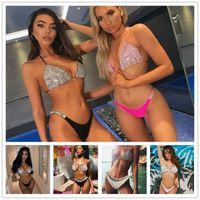 Women Designers Clothes 2021 Bikini Suit Sexy Low Waist Split Hot Diamond Swimsuit New