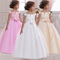 Robe de princesse pour les filles fleurs applications balance bébé enfants élégant fête mariage costume enfants vêtements