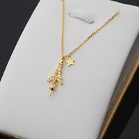S925 Silver Ei-ffel Tower Necklace Pendant Women's Accessories Clavicle Chain Semi-finished Diy Jewelry Versatile 335