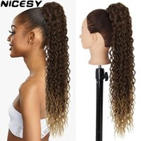Synthetic Wigs Long Water Wave Ponytail With Clip Drawstring Fake Hair Fluffy African Curly Ombre Color Brown