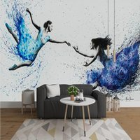 Wallpapers Drop Pedido 3D mural moderno simple abstracto pintura al óleo belleza bailarines de ballet arte fondo papel pintado dormitorio
