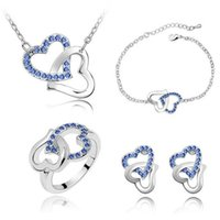 최신 목걸이와 귀걸이 세트 심장 디자인 크리스탈 소재 팔찌 반지 절묘한 웨딩 쥬얼리