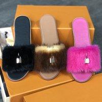 Schloss it Nerz-Pelz-flache Maultiere Pelz-Hausschuhe Leder-Slide-Designer Frauen Slipper Winter-Flip-Flops Sandalen beste Qualität 10 Farben mit Box