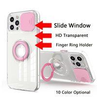 Slayt Pencere Lens Koruma Parmak Yüzük Tutucu Telefon Kılıfları iPhone 12 Mini 11 Pro Max XR XS 6 7 8 Artı Basit Moda HD Temizle Şeffaf Cep Telefonu Kılıfı