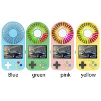 Electric Fans Handheld Luminous Retro Portable 400 In 1 Mini Screen Game Console Summer Cooling Fan W  Lanyard Kid Gaming Player