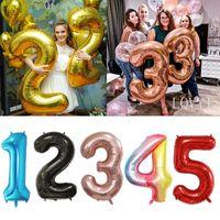 Party AppliousHelium Balloon 40 дюймов Золото Номер Алюминиевые Покрытия Воздушные шары Гелиевый день рождения Свадебное украшение
