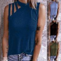 Women Summer Crew Neck Tanks Solid Print T Shirt Loose Sleeveless Casual Tops Tank Top